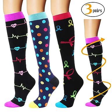 3fb77389b1 YOLIX Compression Socks for Women & Men 20-30 mmHg - 3/6 Pairs - Best Knee  High Socks for Running, Travel, Medical, Pregnancy, Nurse, Teacher