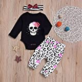 856store Clearance Sale Skull Infant Baby Girls Long Sleeve Romper Pants Headband Halloween Clothes Set