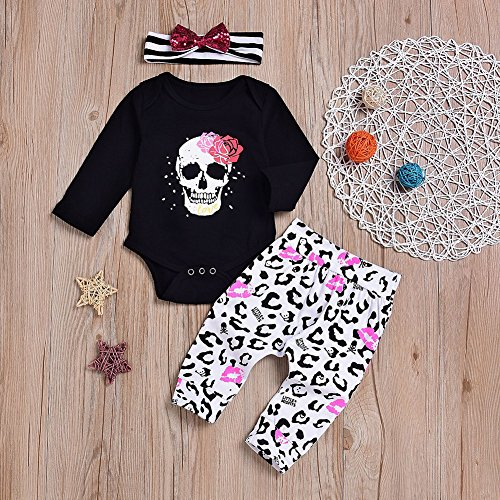 ec78027b1 856store Clearance Sale Skull Infant Baby Girls Long Sleeve Romper Pants  Headband Halloween Clothes Set by