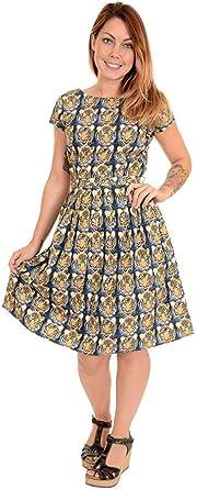 Womens Seaside Dress Run /& Fly Print Kitsch Retro Cotton Tea Dress Summer
