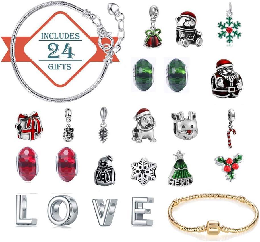 Children DIY 22 Charm Jewelry 2 Bracelet Necklace Children Xmas Gifts Box Set Fashion Jewelry Making Kit for Kids and Girls Develoo Christmas Advent Calendar