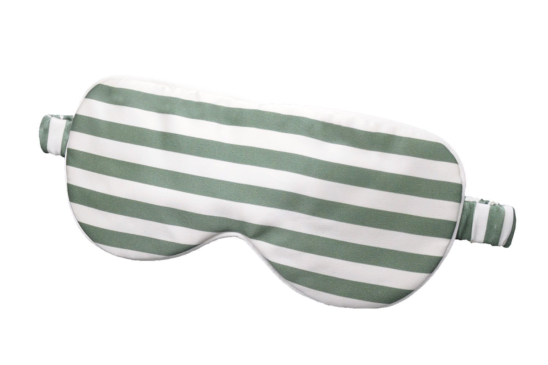 LULUSILK Mulberry Silk Sleep Eye Mask & Blindfold Large with Elastic Strap/Headband, Soft Eye Cover for Women Men Deep Night Sleeping, Travel Nap with Fashion Stripe (Green)