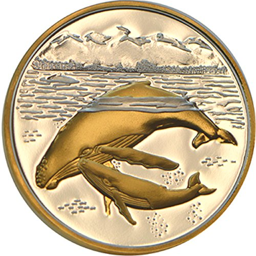 Whale Medallion - Alaska Mint Humpback Whales Medallion Gold/silver Medallion .999 1 Troy Oz