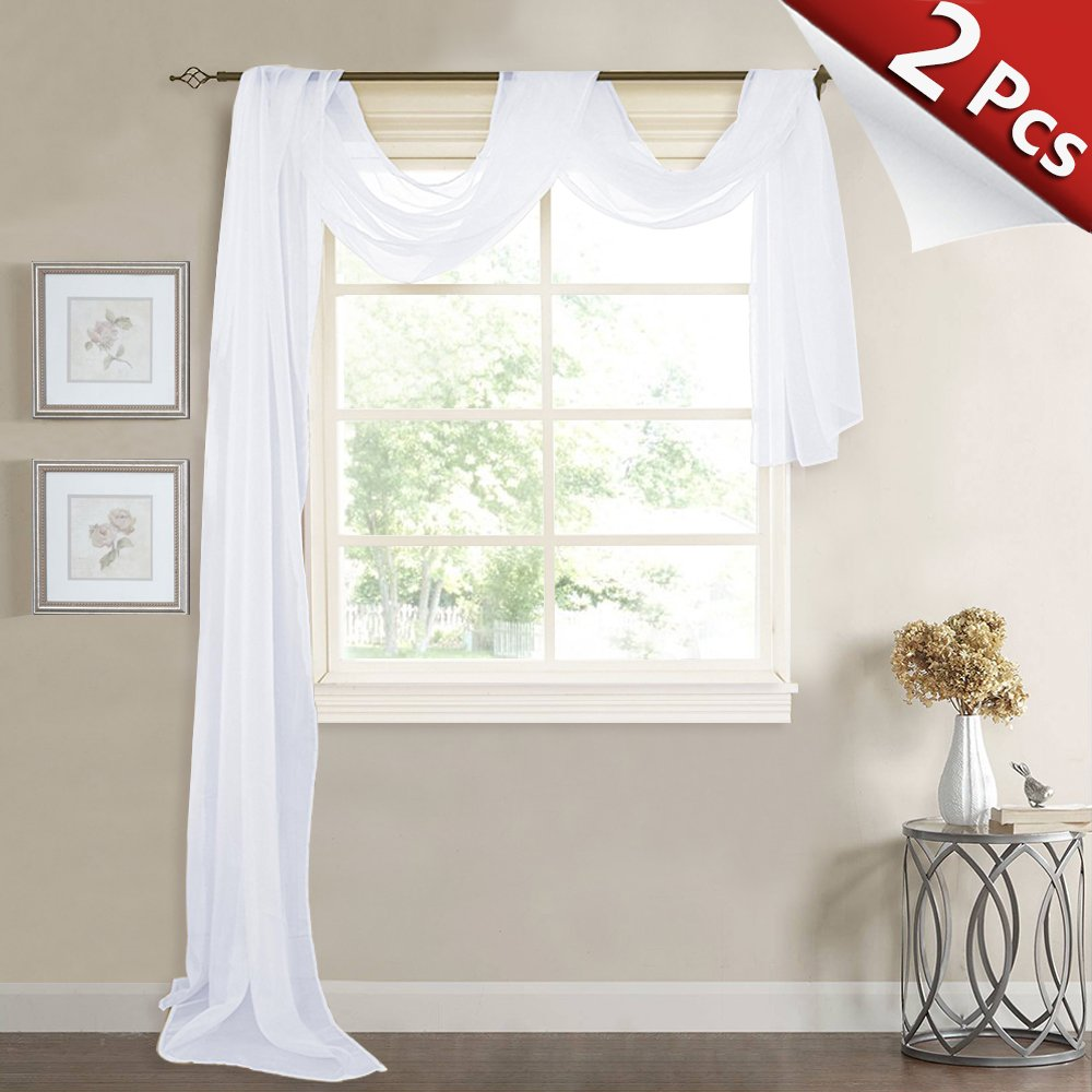 RYB HOME Long Sheer Valances Scarfs White Voile Tiers Window Decoration for Wedding/Holiday/Festival, Wide 60 in x Long 216 in Each Panel, 2 Pieces
