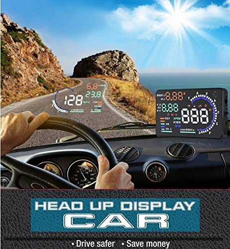 BW Universal 13.97 cm groß es Display, Multicolor-Up-Display mit OBD2 Interface &-Stecker Play-Display HUD kombiniert BW Corp BWA8