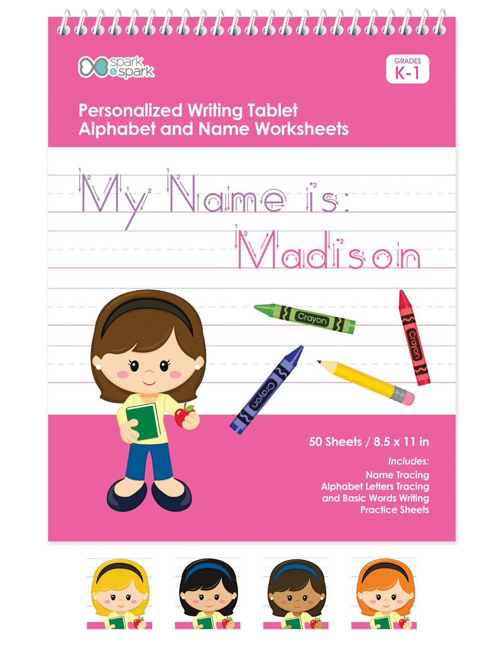 Personalized English Writing Book For Girls