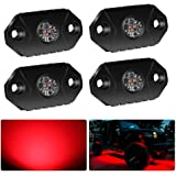 4WDKING Red LED Rock Lights, 4 Pods IP68 Waterproof Underbody Glow Trail Rig Lamp LED Neon Lights for Truck Jeep Off…