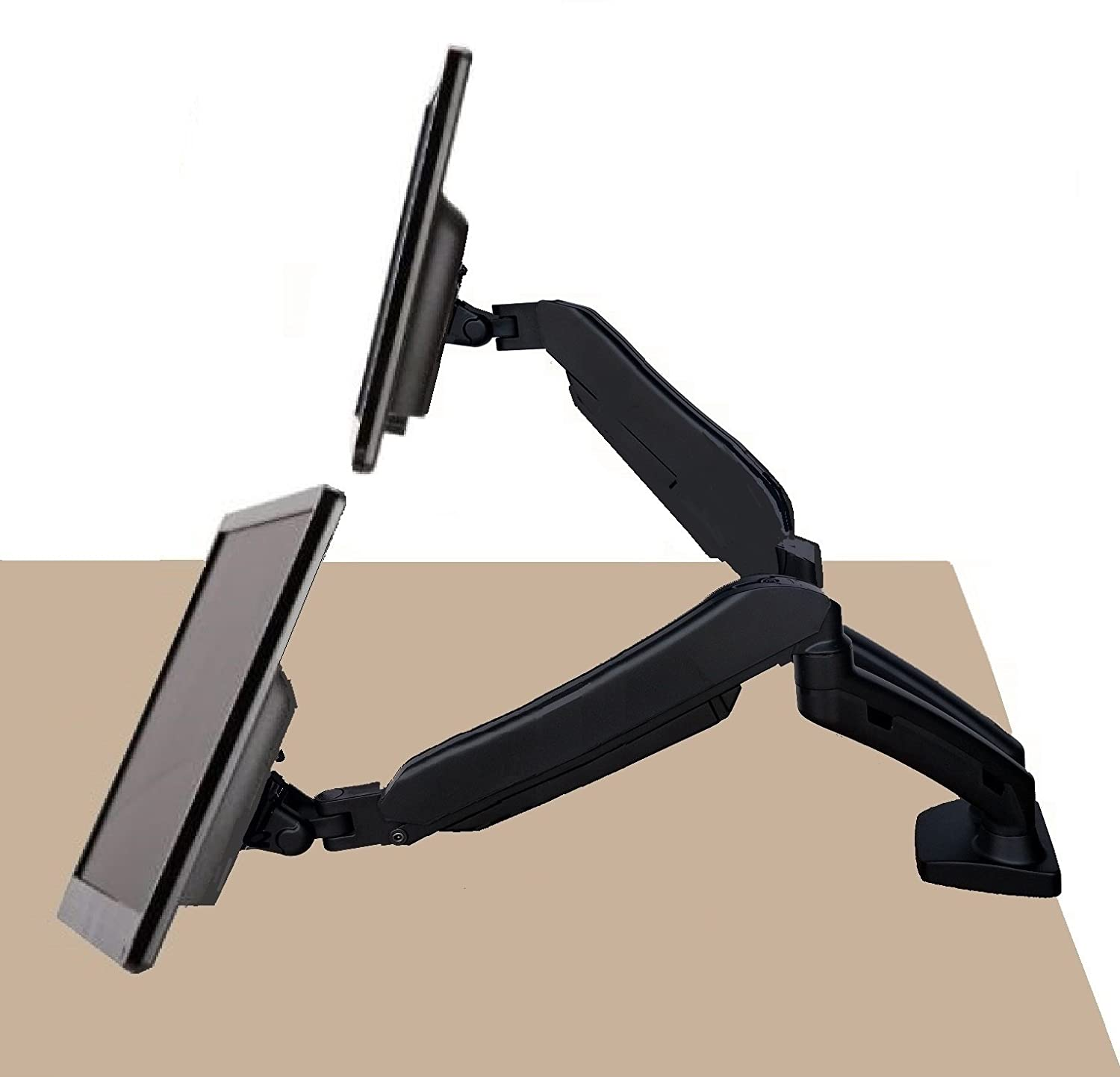 """EZM Dual Hight Adjustable Full Motion Gas Spring Monitor Mount Stand Desktop Clamp with Grommet Mount Option fits 13"""" - 27"""" (002-0031)"""