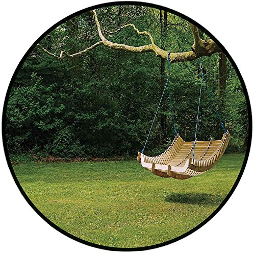 Printing Round Rug,Country Decor,Curved Swing Bench Hanging From the Bough of Tree in Lush Garden Woodland Backdrop Mat Non-Slip Soft Entrance Mat Door Floor Rug Area Rug For Chair Living Room,