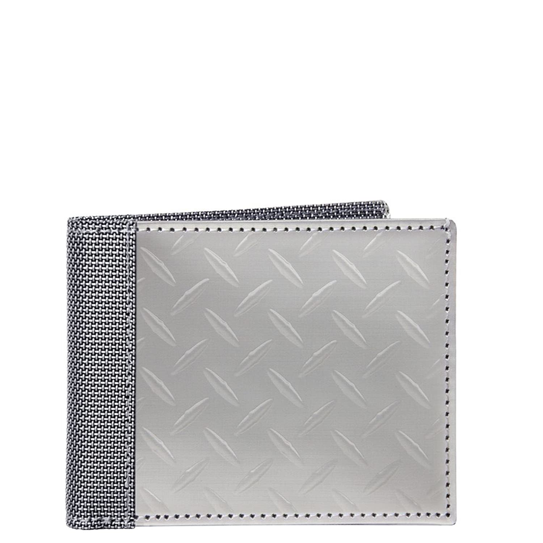RFID Blocking Stewart/Stand Diamond Plate Stainless Steel Billfold Wallet