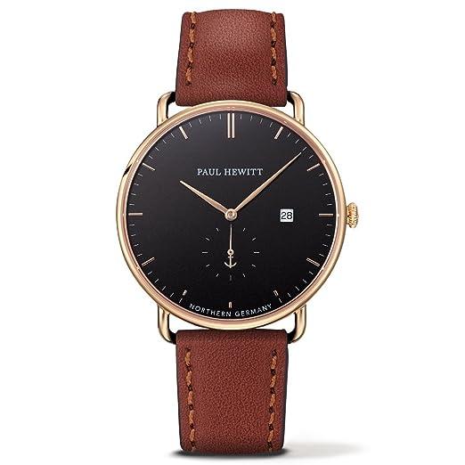 Paul Hewitt Reloj Analógico para Hombre de Cuarzo con Correa en Cuero PH-TGA-G-B-1M: Amazon.es: Relojes