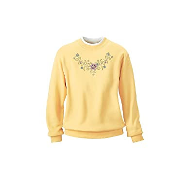 The Tog Shop Women's Morning Sun Embroidered Sweatshirts - M Yellow