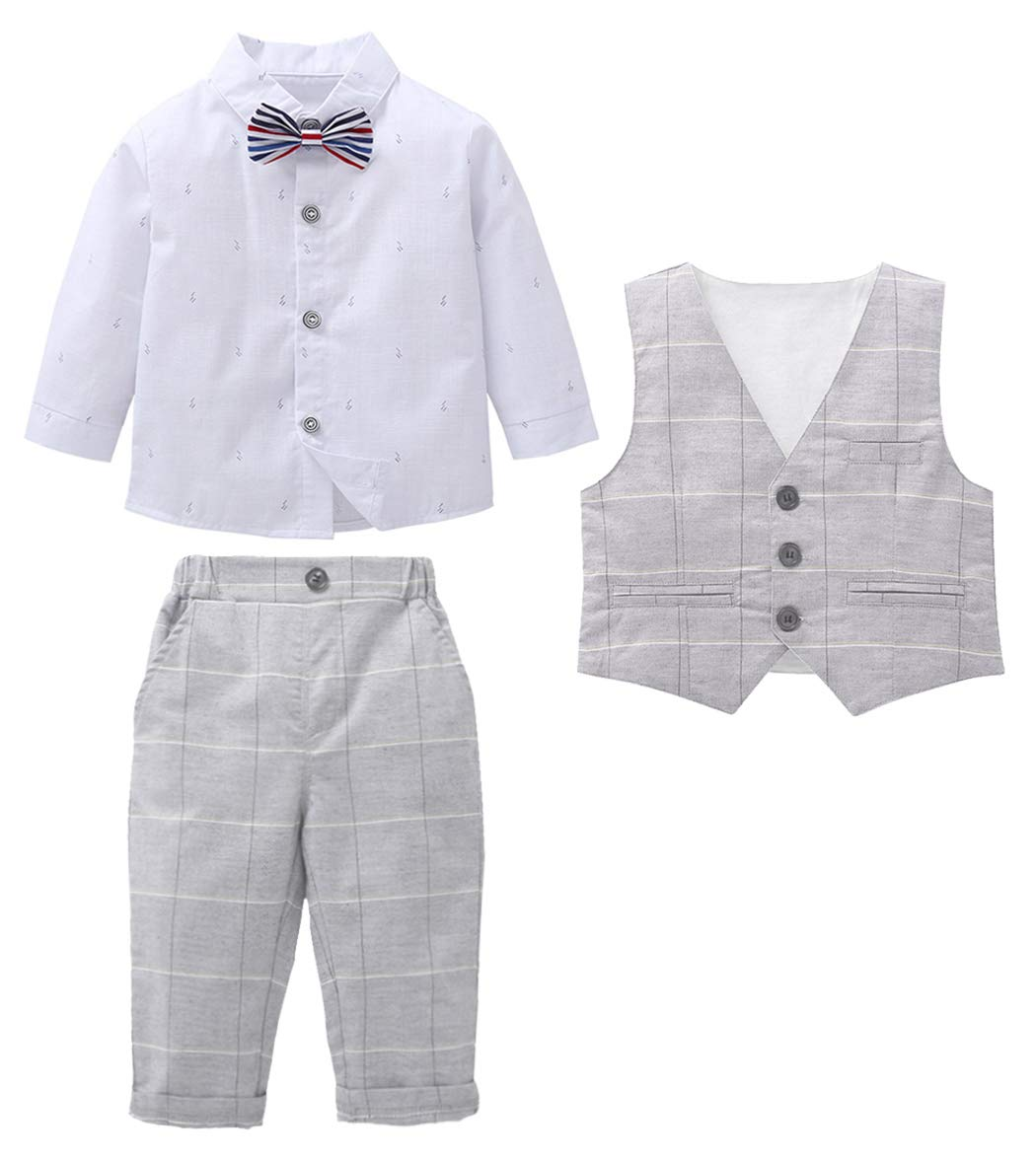 MetCuento Baby Boy Suits Gentleman Wedding Outfit Bow Tie Tuxedo White Shirt Formal Wear Dress Suit 3T(2-3 Years) by MetCuento