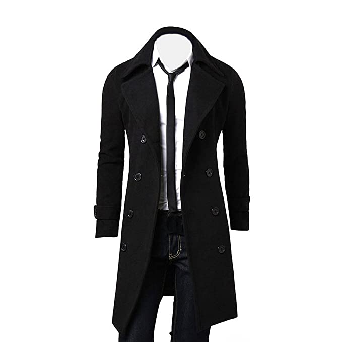 OverDose Hombres de invierno Slim elegante Trench Coat Double Breasted Chaqueta larga Parka (XL,