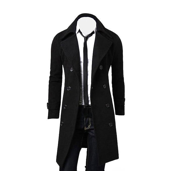 OverDose Hombres de invierno Slim elegante Trench Coat Double Breasted Chaqueta larga Parka (L, Negro)