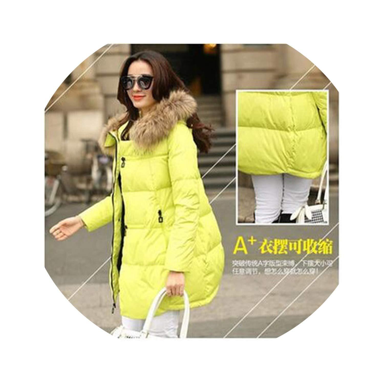 Yellow Winter Jacket Coat Warm Down Jacket Hooded Long Women's Parkas Down Coats A298