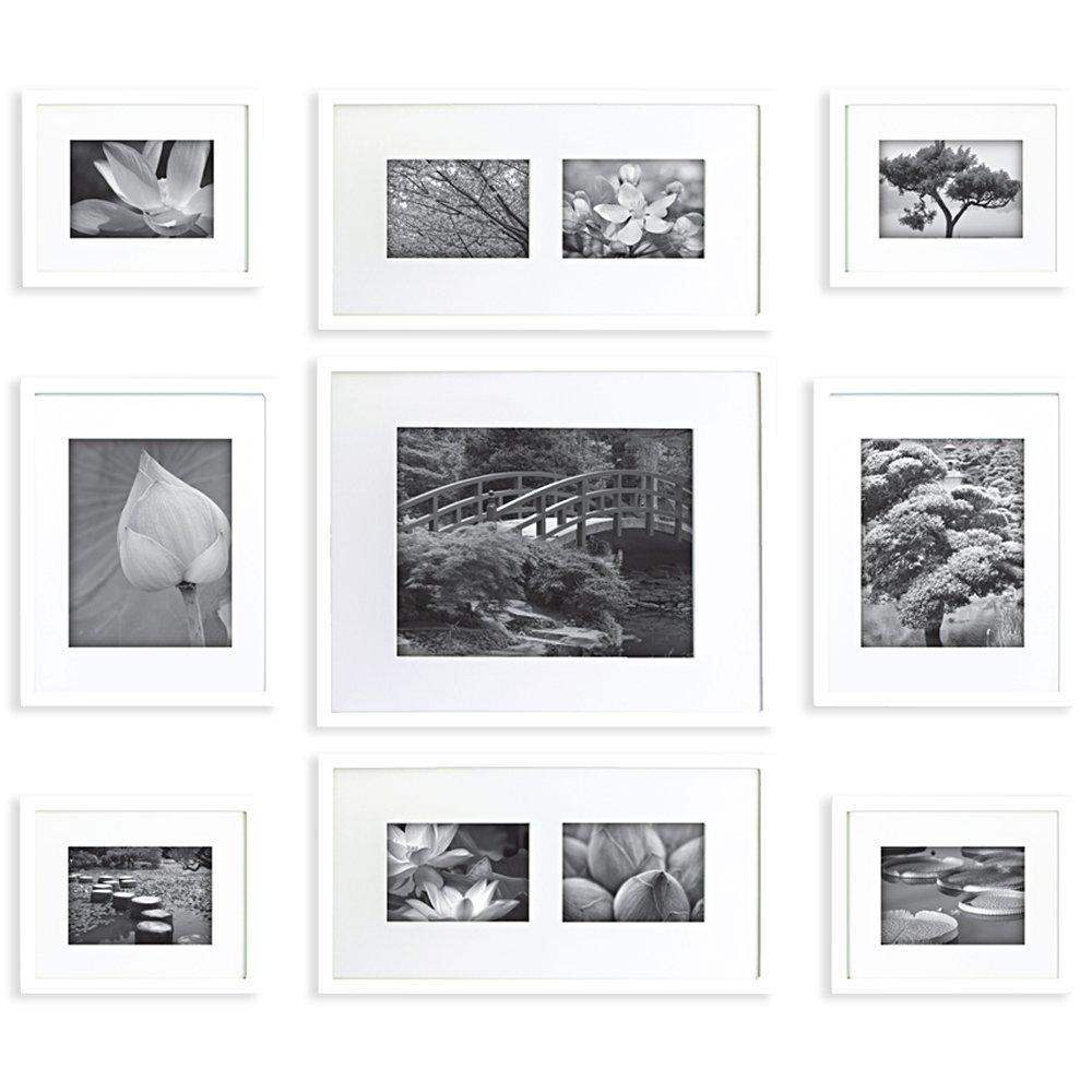 GALLERY PERFECT 9 Piece White Wood Photo Frame Wall Gallery Kit #16FW1005. Includes: Frames, Hanging Wall Template, Decorative Art Prints and Hanging Hardware Pinnacle Frames