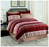 Martex Juliet Bed-in-a-Bag, Twin, Red/Taupe