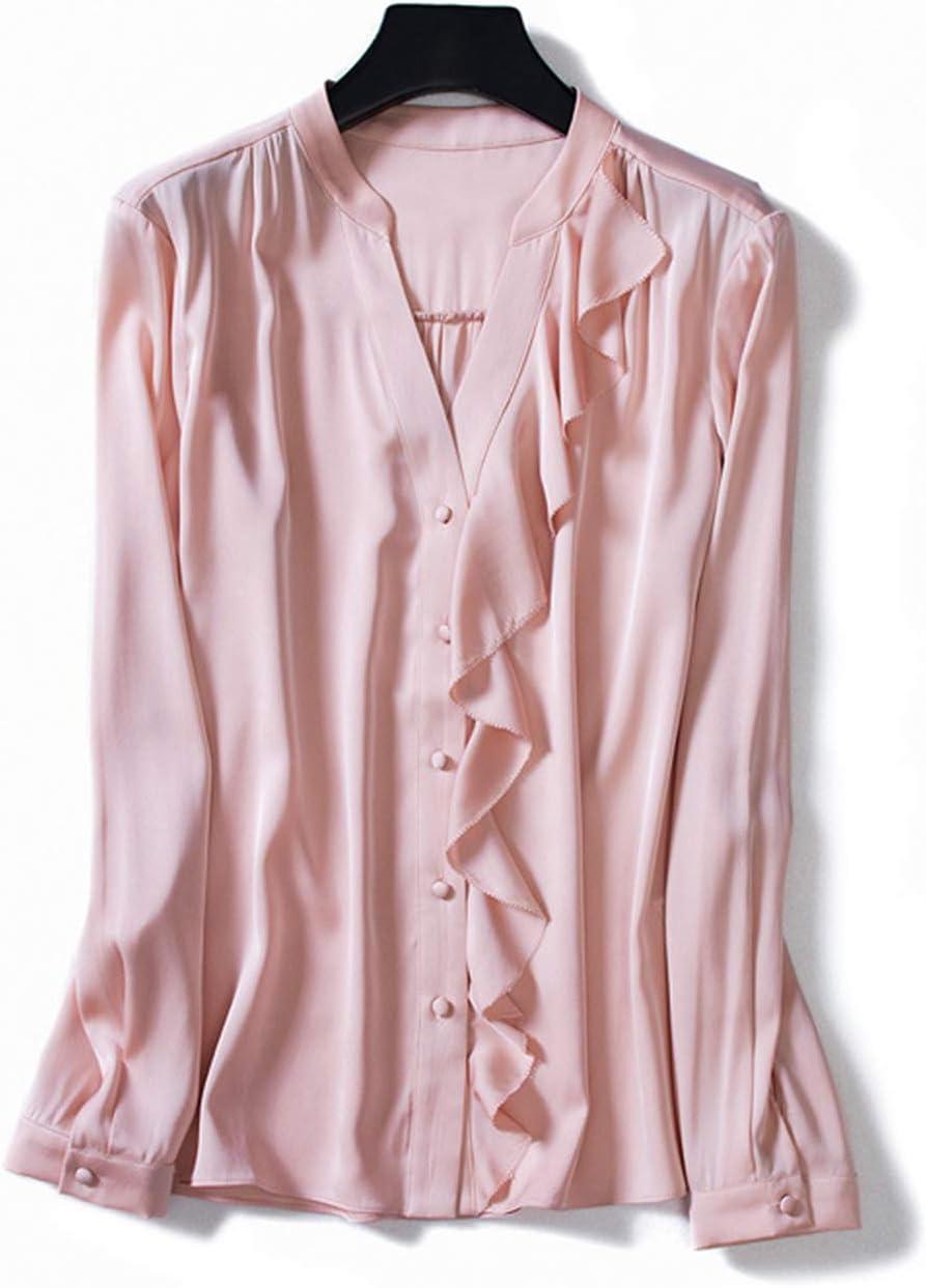 XCXDX Camisa con Cuello En V, Elegante Blusa Rosa De Primavera, Blusa De Manga Larga Informal: Amazon.es: Deportes y aire libre