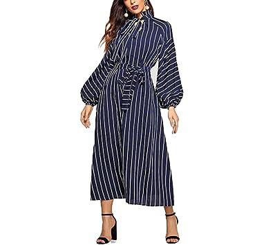 ea7504c47 Tie Neck Raglan Lantern Sleeve Striped Frill Long Dress Stand Collar ...