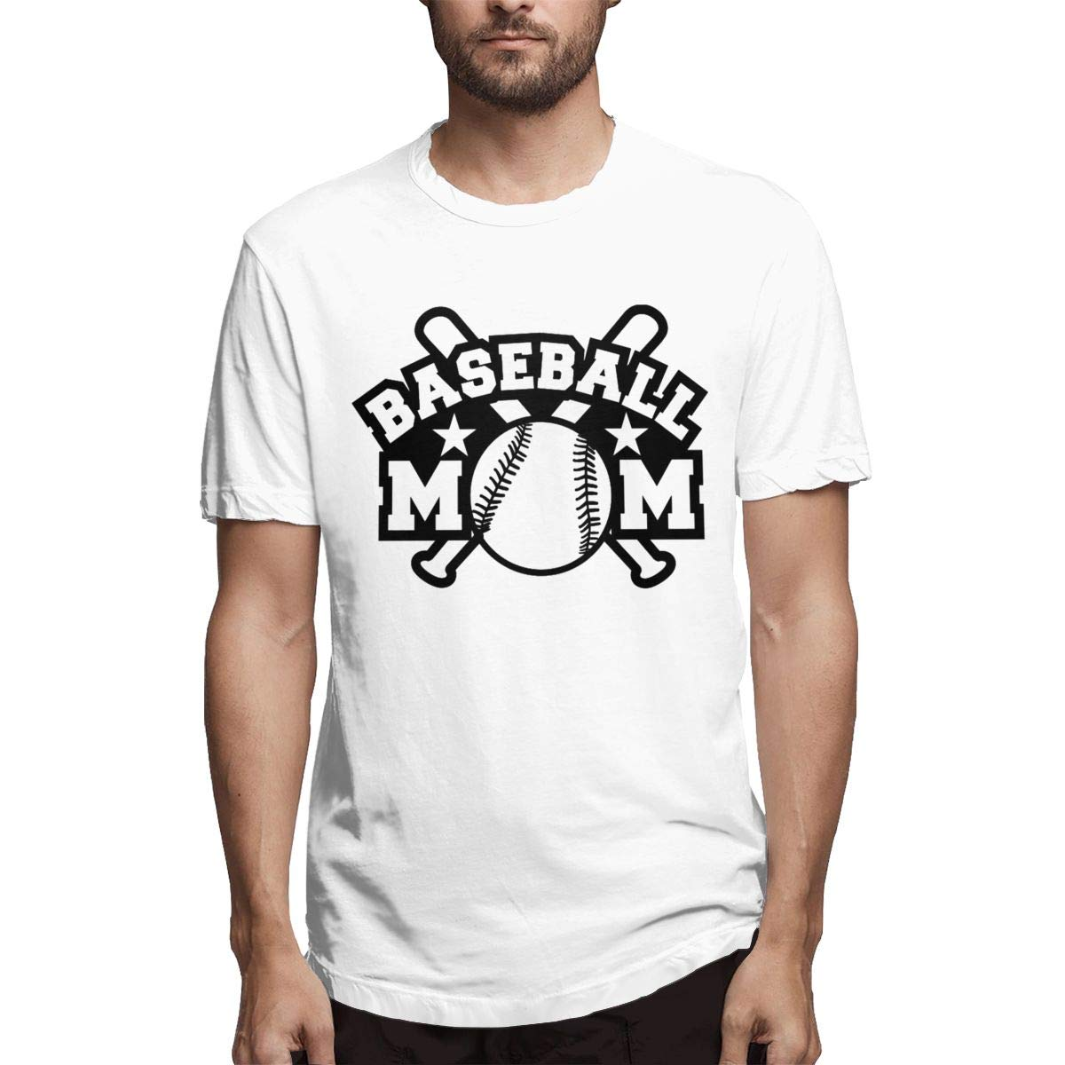 Holygery Men Baseball Mom Ultra Soft Crew-Neck Coton Short Sleeves Tops