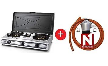 ElectrodomesticosN1 Pack Hornillo a Gas Orbegozo fo 3510, INOX 3 Fuegos + Regulador de Gas butano HVG, Tubo Manguera 1, 5 Metros, Abrazaderas: Amazon.es: ...