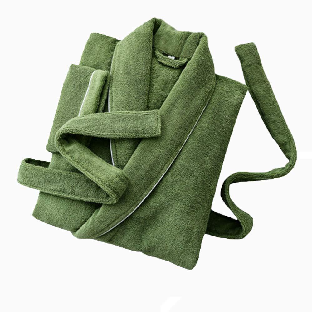HONGNA Camisón De Algodón Cálido Otoño E Transpirable Invierno Modelos Transpirable E Larga Pareja Absorbente De Manga Larga Hombres Y Mujeres Albornoz (Color : verde, Tamaño : L) 9452b6
