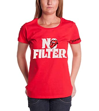 ba0910f0533901 Amazon.com: The Rolling Stones T Shirt No Filter Tour Header Logo Official  Womens Red: Clothing