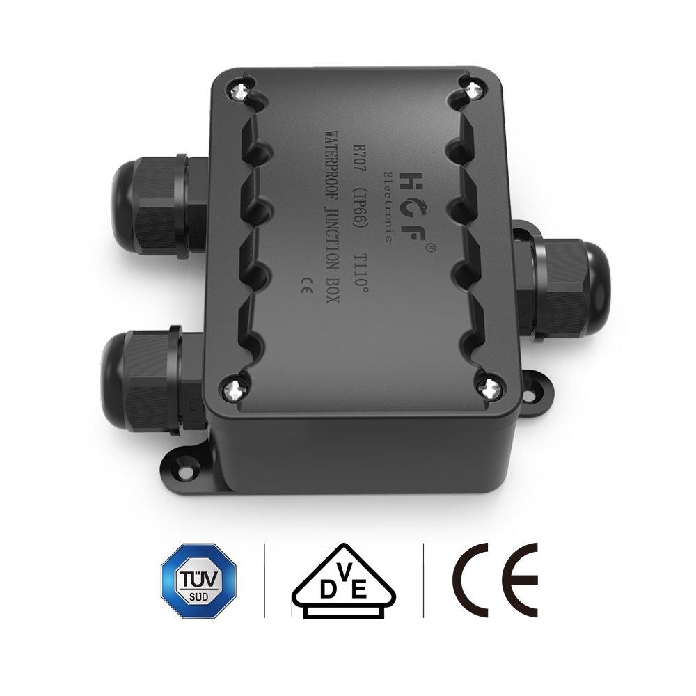 Bo/îte de d/érivation connecteur de c/âble ABS + PVC M20 presse-/étoupe 9 mm-14 mm doux 3 voies Bo/îte de jonction connecteur d/éclairage IP66 /étanche Noir /électrique externe Coupler