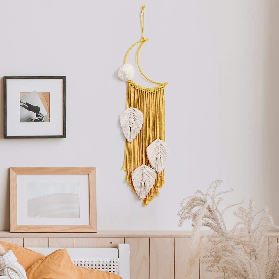 JOXJOZ Moon Macrame Wall Hanging Feather Dream Catches-Boho Tapestry Cotton Woven Home Decor Handmade Decoration for Kids Room Party Wedding Ornament Craft Gift (Yellow)
