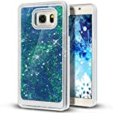 Liquid Case for Samsung Galaxy S7,Creative Design Floating Bling Glitter Sparkle Diamond Hexagon Stars Hard Plastic Case for Samsung Galaxy S7(Dark Blue)
