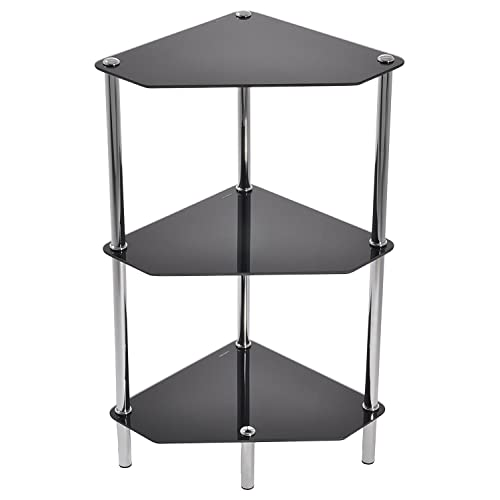 Black Glass Chrome And Steel 3 Tier Corner Table Shelf Unit