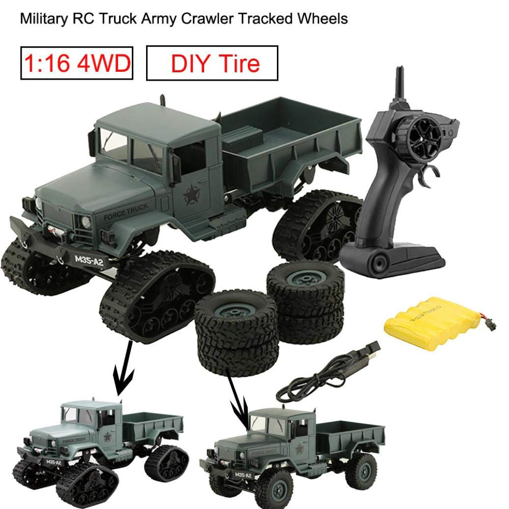 Dreamyth RC Military Truck Army 1:16 4WD Tracked Wheels Crawler Off-Road Car RTR Toy New (Green)