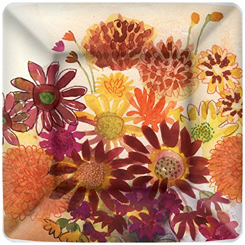 Boston International 8 Count Square Paper Dinner Plates, Bunch Flowers ()