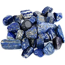 """Bingcute 1 lb Natural Lapis Lazuli About 0.8""""inch Tumbled Stone Healing Reiki Crystal Jewelry Making Home Decoration"""