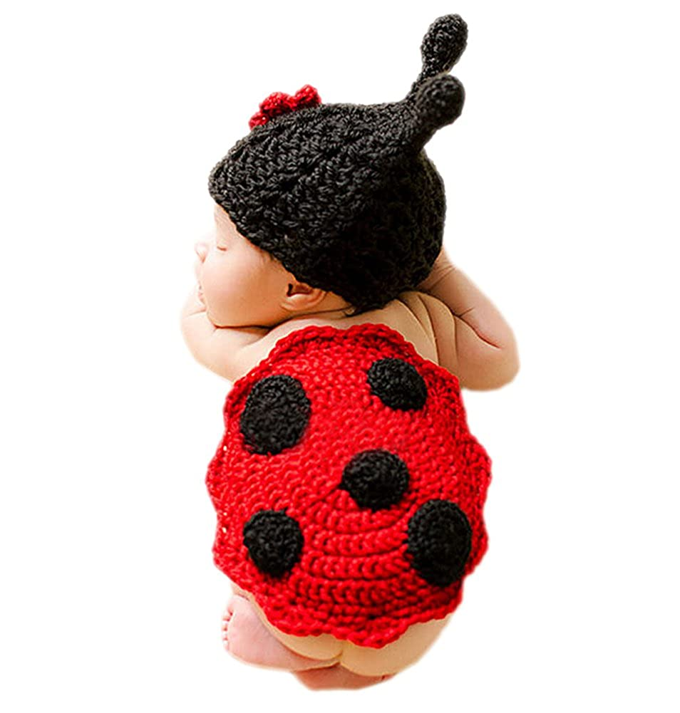 DELEY Newborn Baby Crochet Knit Cartoon Ladybug Costumes Unisex Cap Outfit Photography Props 0-6 Months FS0231