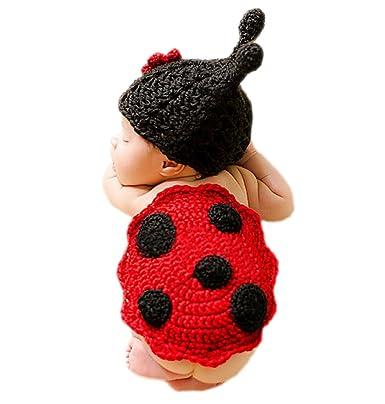 DELEY Bebé Recién nacido Crochet Tejer dibujos animados Mariquita Trajes Unisex Gorra Traje de Fotografía Props de 0-6 Meses