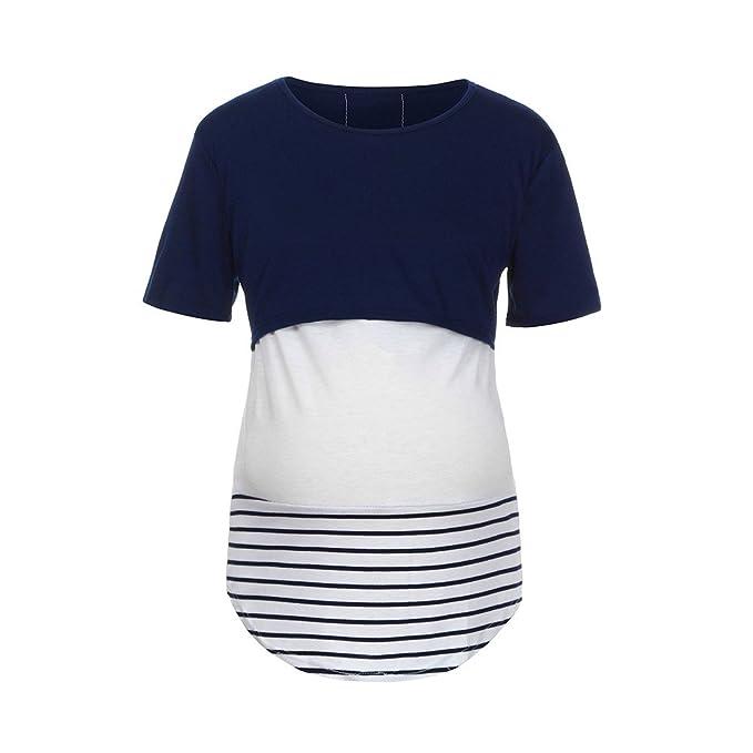 Cinnamou Blusa de Premama Lactancia Verano para Mujer Camisas y Camisetas Manga Corta Embarazada Top maternida a Raya: Amazon.es: Ropa y accesorios