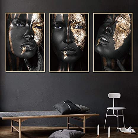 Scandinavian Picture Print Painting Black Gold Woman Poster Canvas Wall Art