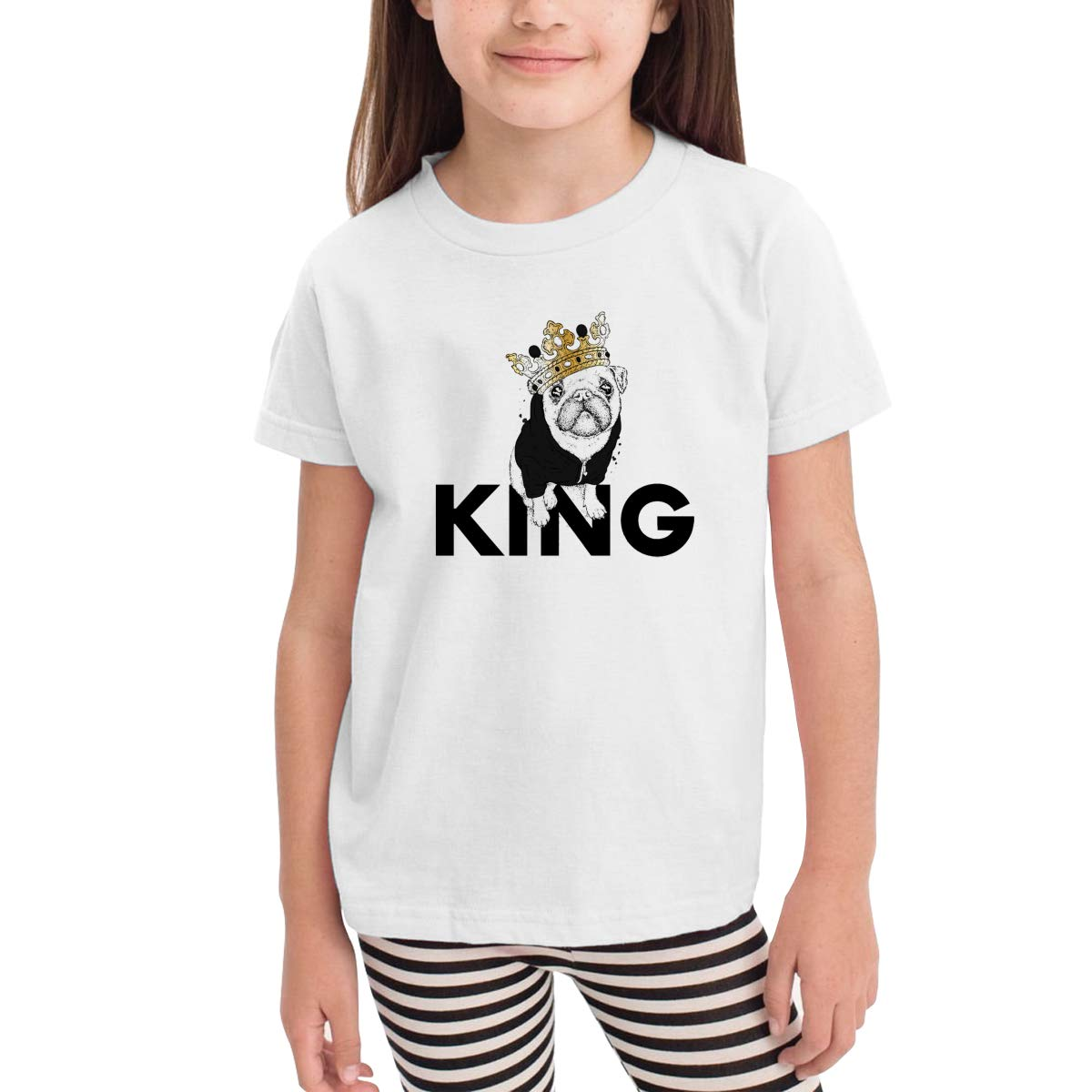 Cute Dogs Puppy King 100/% Organic Cotton Toddler Baby Boys Girls Kids Short Sleeve T Shirt Top Tee Clothes 2-6 T