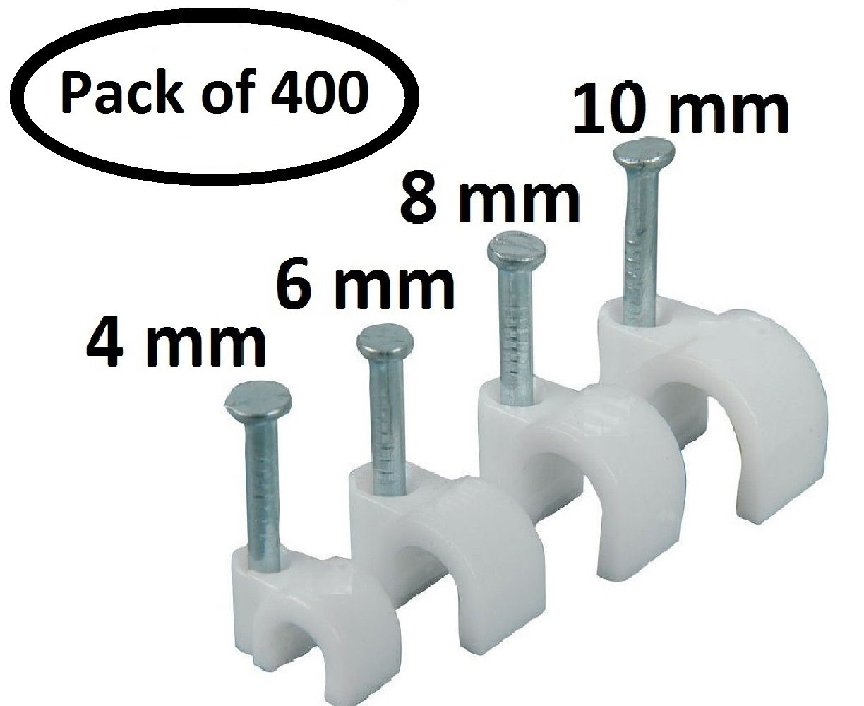 PARTH IMPEX Round Cable Wire Clips 4mm 6mm 8mm 10mm (Pack of 400 ...