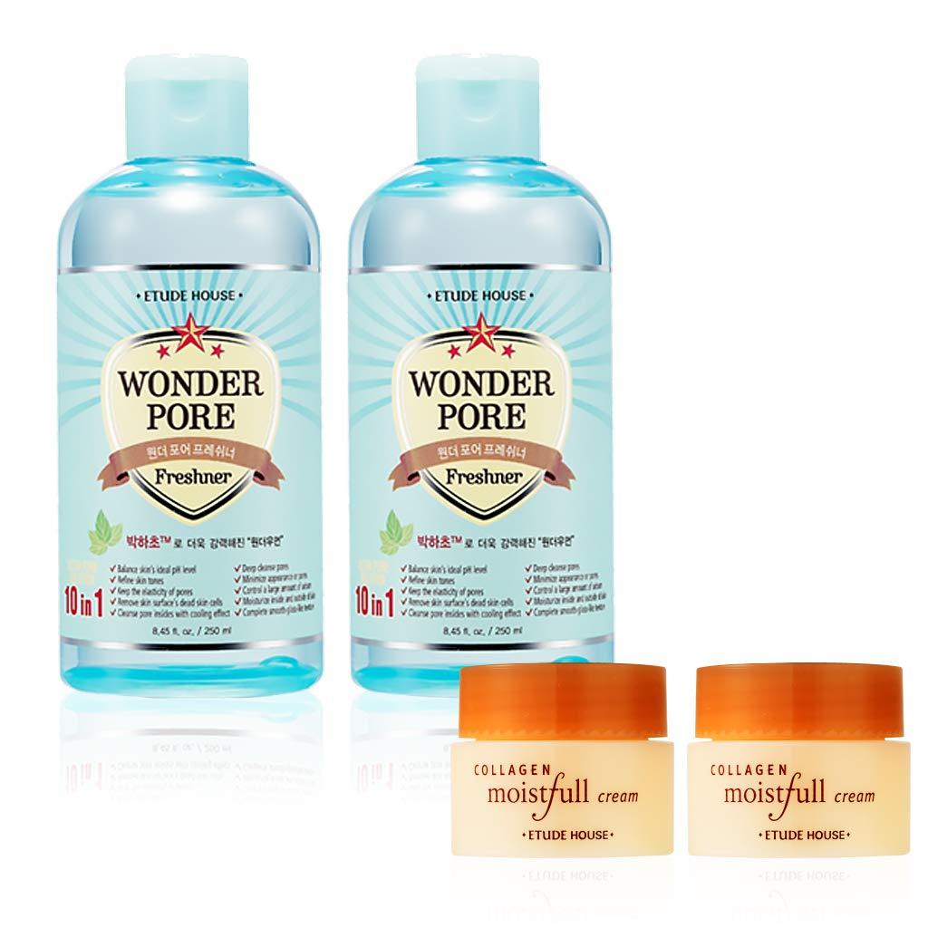 ETUDE HOUSE Wonder Pore Freshner Two Set 8 45 fl  oz  (250ml) Emulsion,  Toner Sample 5ml - For