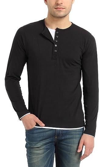 6e04187373d Zsolt Full Sleeve Henley Double Layer Style Men S Cotton T Shirt