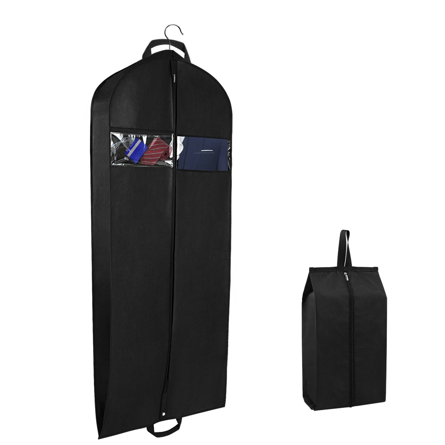 Zilink Garment Bags Suit Bags for Travel 60''x24''x5.9'' Gusseted with Zipper Pockets and Bonus Bag