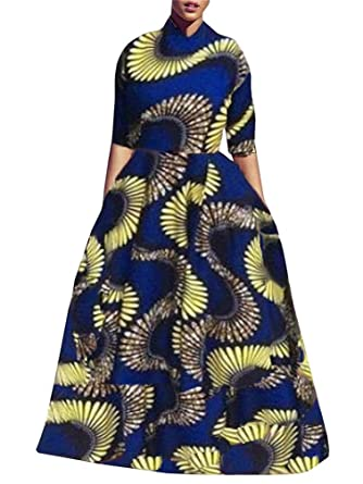 f251ee3f181b1 Yobecho Womens African Print Dashiki Dress Long Fit and Flare Crop Top Skirt  Outfits Maxi Dress