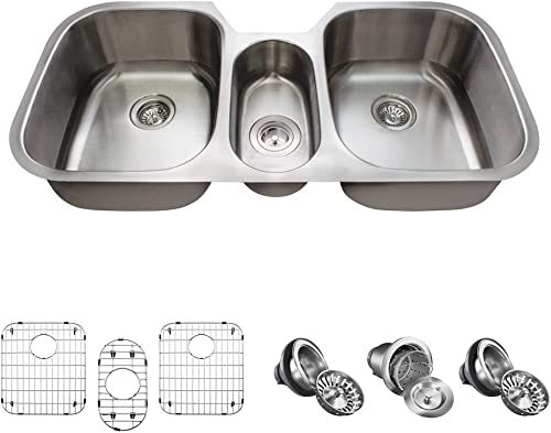 4521 16 Gauge Stainless Steel Kitchen Ensemble Bundle – 7 Items Sink, Basket Strainer, 2 Standard Strainers, and 3 Sink Grids