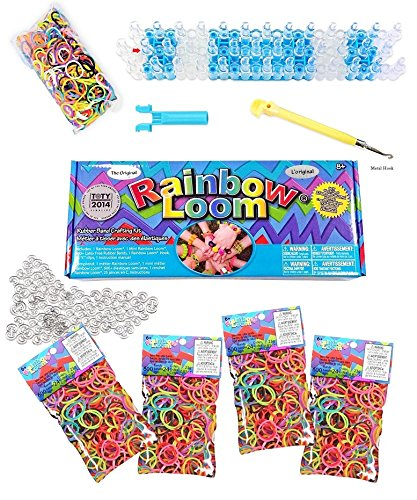 The Original Rainbow Loom Bands Value Pack, Complete Set Crafting Kit includes Loom, Metal Hook, Mini Rainbow Loom, 3000 Multi-Color Rubber Bands Refill, 120 Large Clips For Bracelets & Keychains (Rubber Band Bracelets Kit)