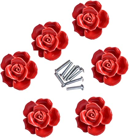 Floral Flower Ceramic Door Knobs Handles Furniture Drawer Pulls Cupboard