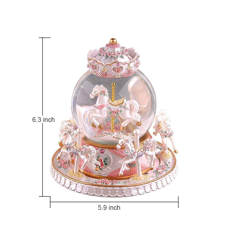 LOHOME Rotate Music Box Luxury Carousel Crystal Ball Glass Ball Dollhouse Toy with Castle in The Sky Tune Perfect Birthday Gift Valentines Day