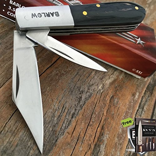 """3.5"""" BARLOW TWO Carbon Steel Razor Sharp Blade BLACK WOOD TRAPPER Pocket Folding Knife COLLECTIBLE + Free eBook by SURVIVAL STEEL"""